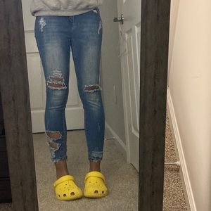 Ross blue denim ripped ankle cropped skinny jeans
